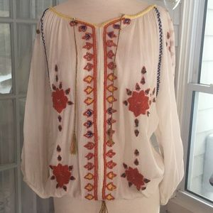 Greylin gauze embroidered peasant blouse